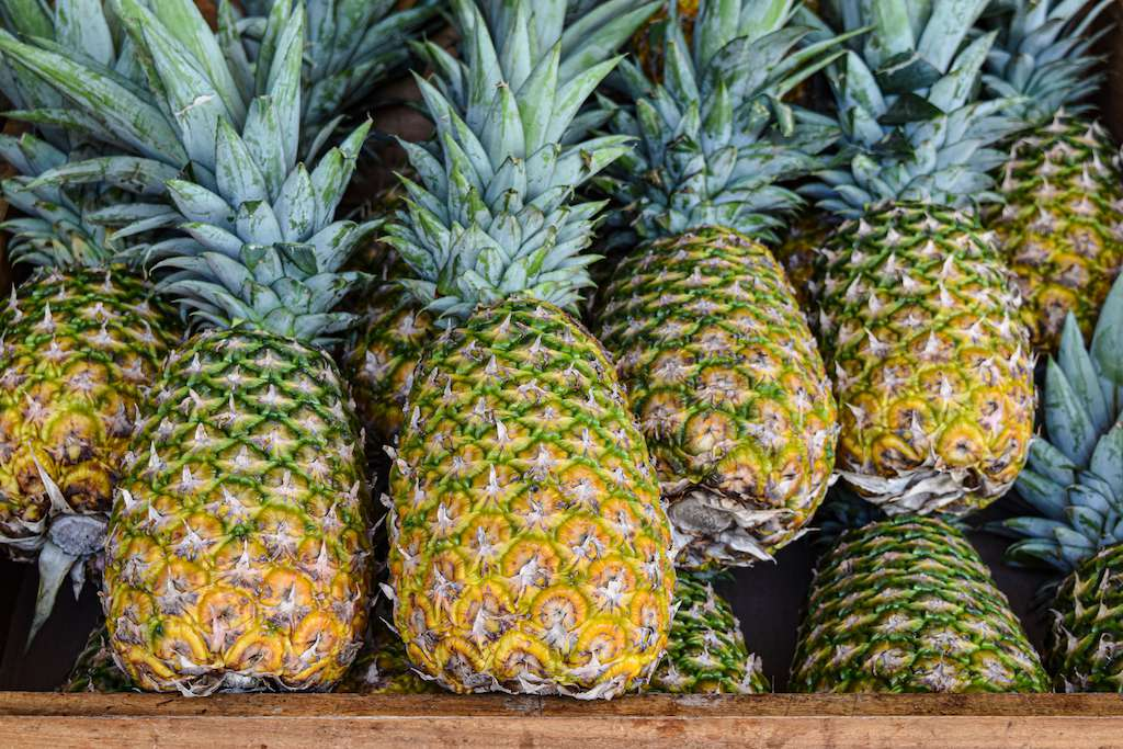 row of pineapple in market