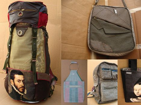 Large Backpack and Bags from Recovered Fabrics by Carro Photo
