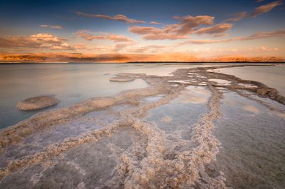 A view of the Dead Sea and its salt deposits.