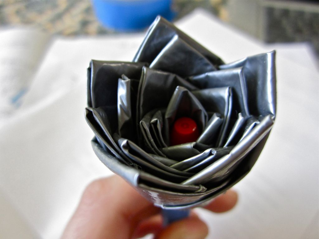posy made of duct tape