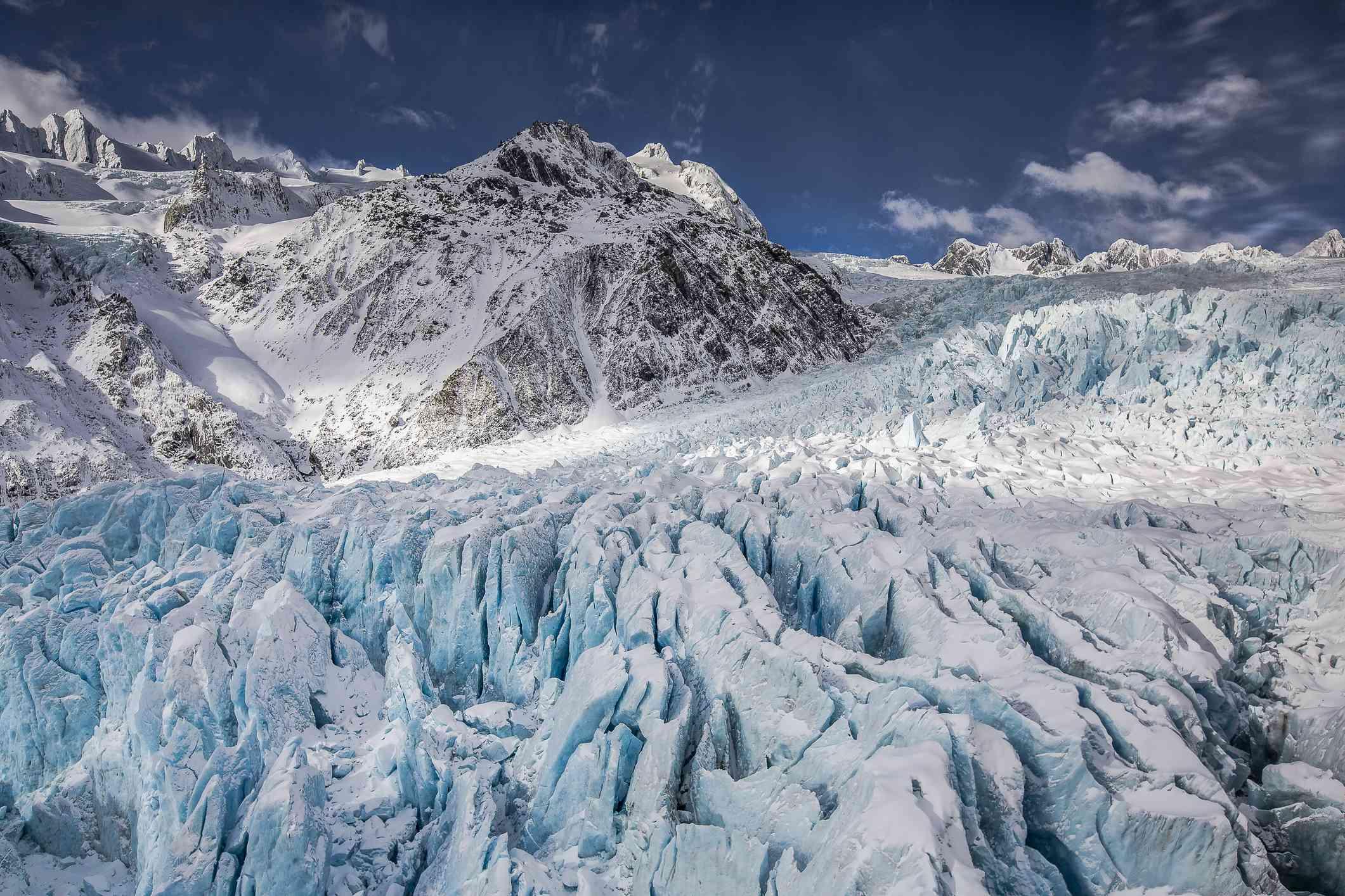 Aerial view of a Franz Josef glacier