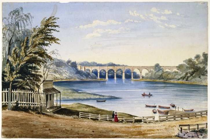 An 1849 watercolor painting of High Bridge