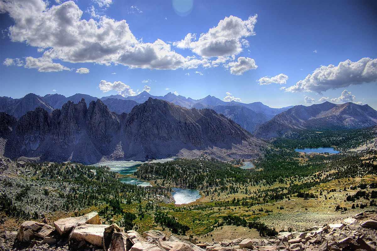The Kearsarge Lakes within the Sierra Nevada mountain range in California