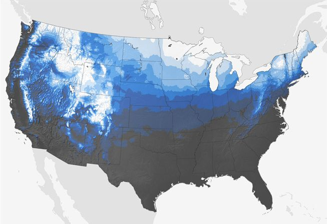 The NOAA's map that shows the historical chances of a white Christmas