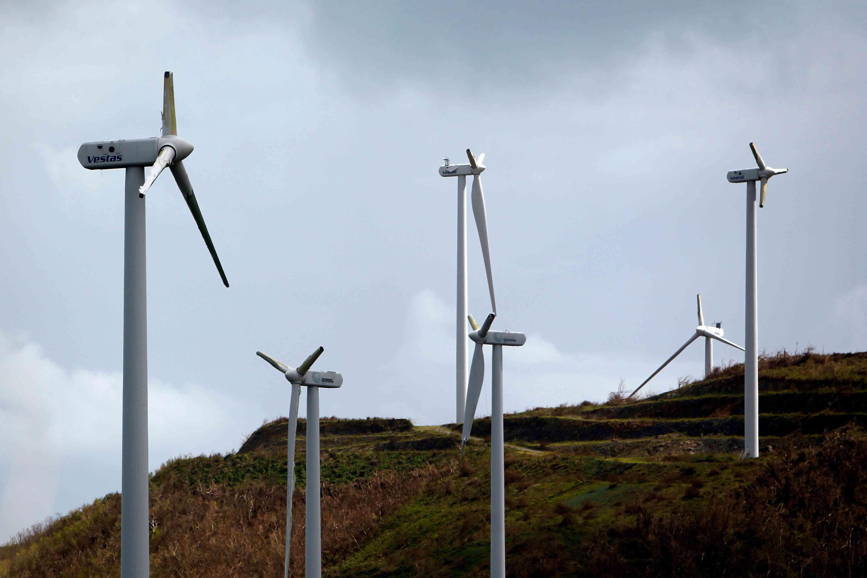Damaged wind turbines in Puerto Rico