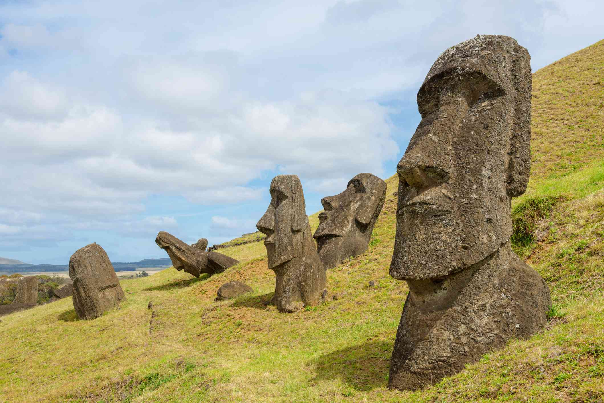Up-close view of giant stone sculptures on Easter Island