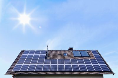 Solar panels on a small house