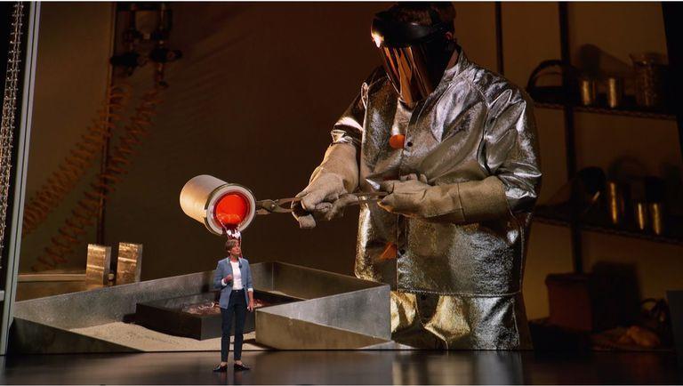 guy in suit melting aluminum