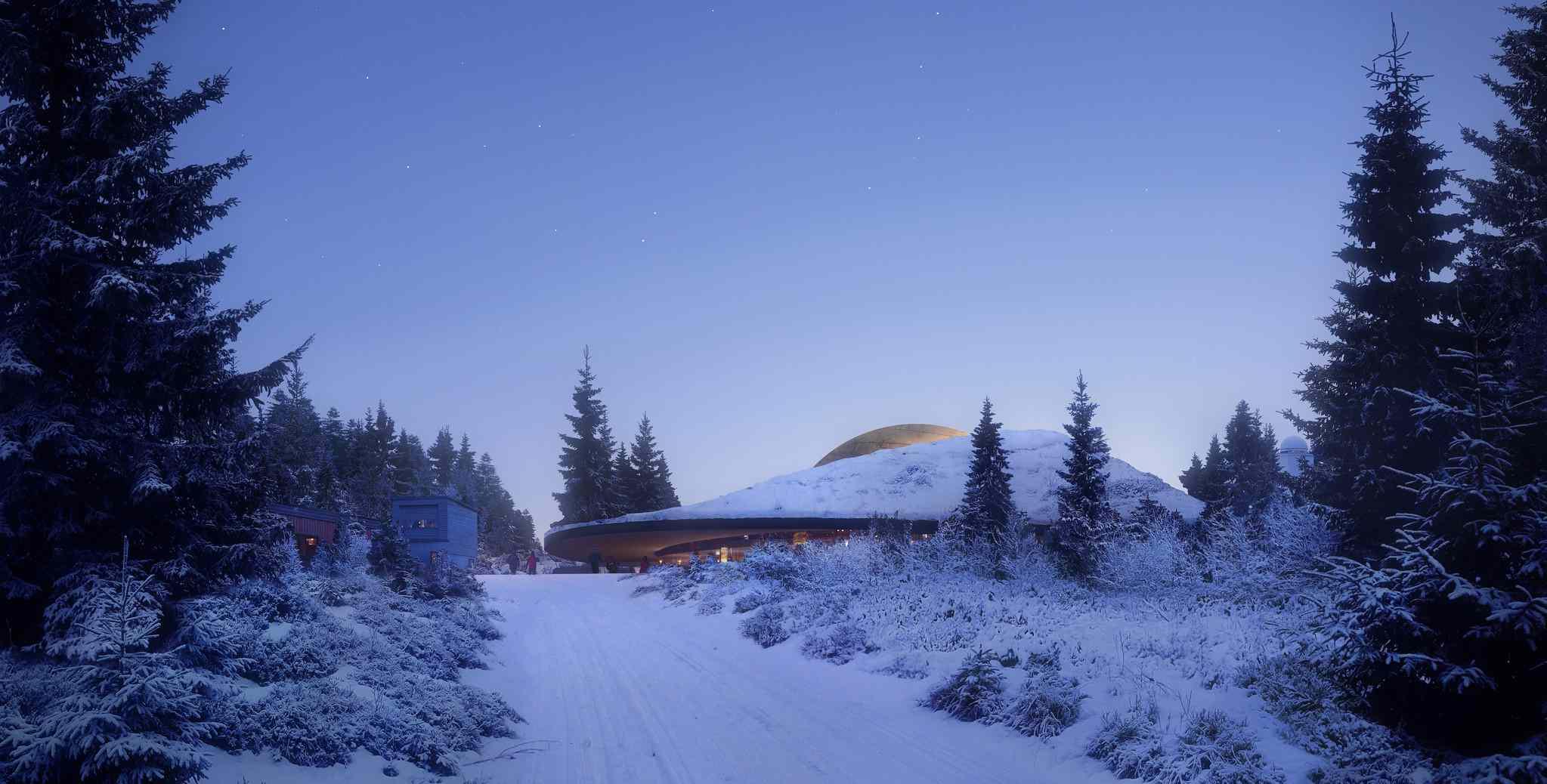 Snow-covered view of revamped Solobservatoriet planetarium Harestua, Norway