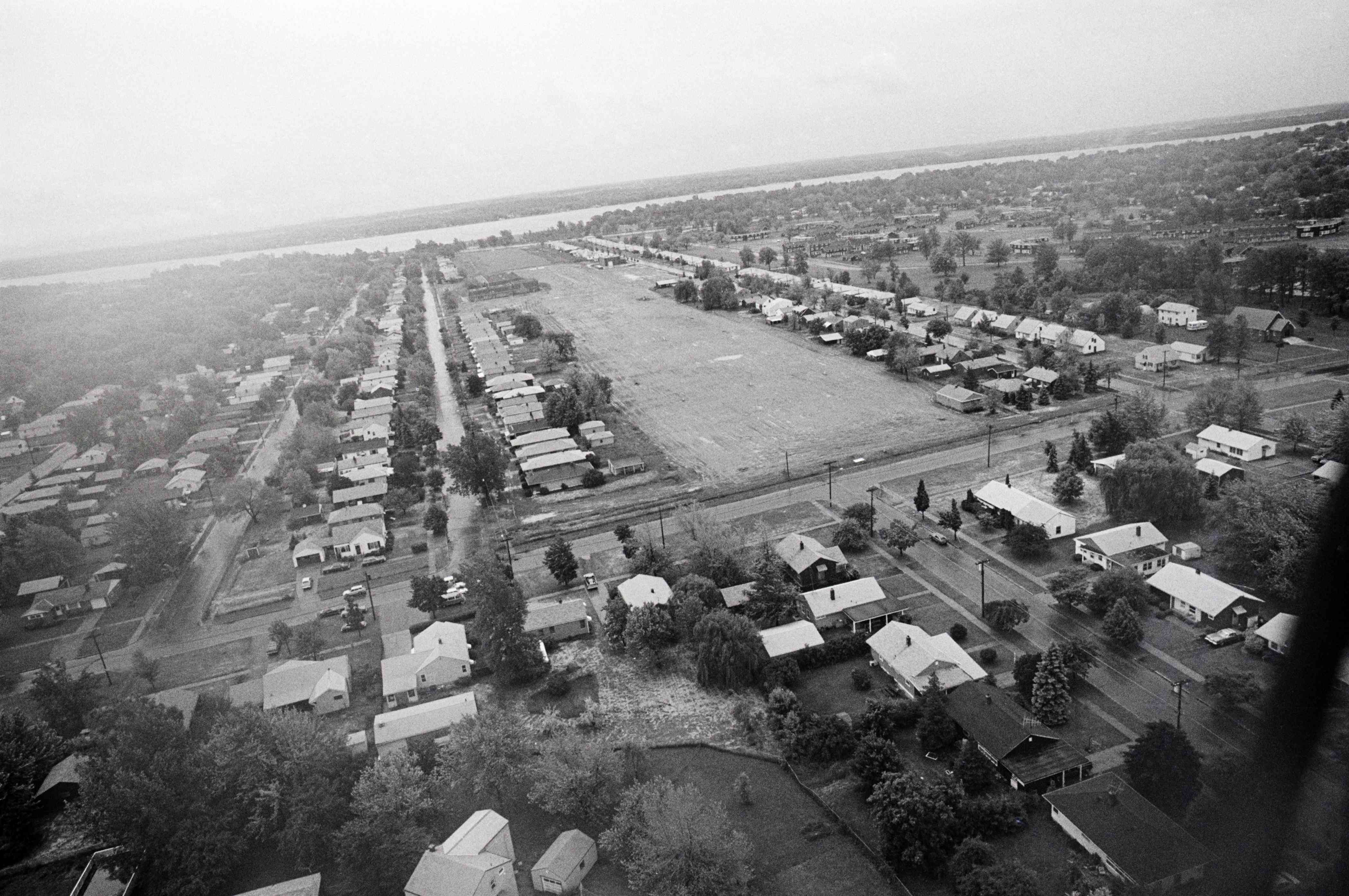Aerial view of abandoned houses and buildings in Love Canal neighborhood