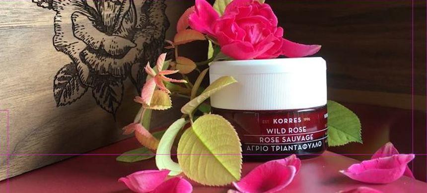 Korres Wild Rose cream with rose petals