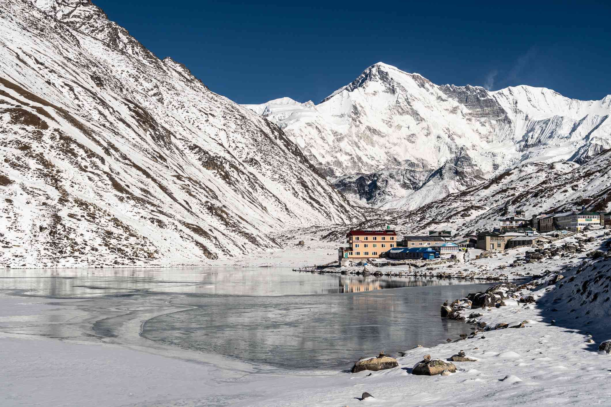 Gokyo village with the Cho Oyu peak in the background