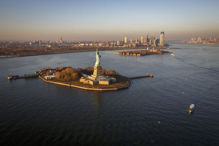 Liberty Island surrounded by the New York Harbor