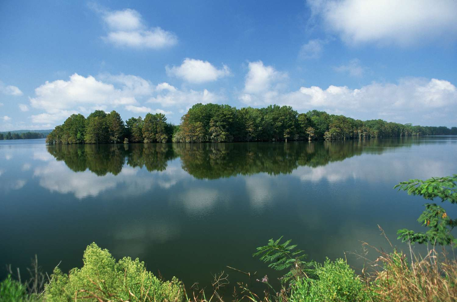 A partly cloudy sky is reflected in the Ouachita River.