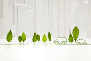 electric cord with standing leaves and cars