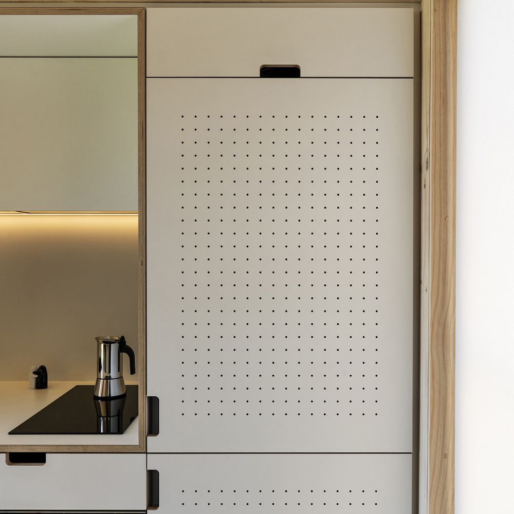 Pegboard kitchen cabinets