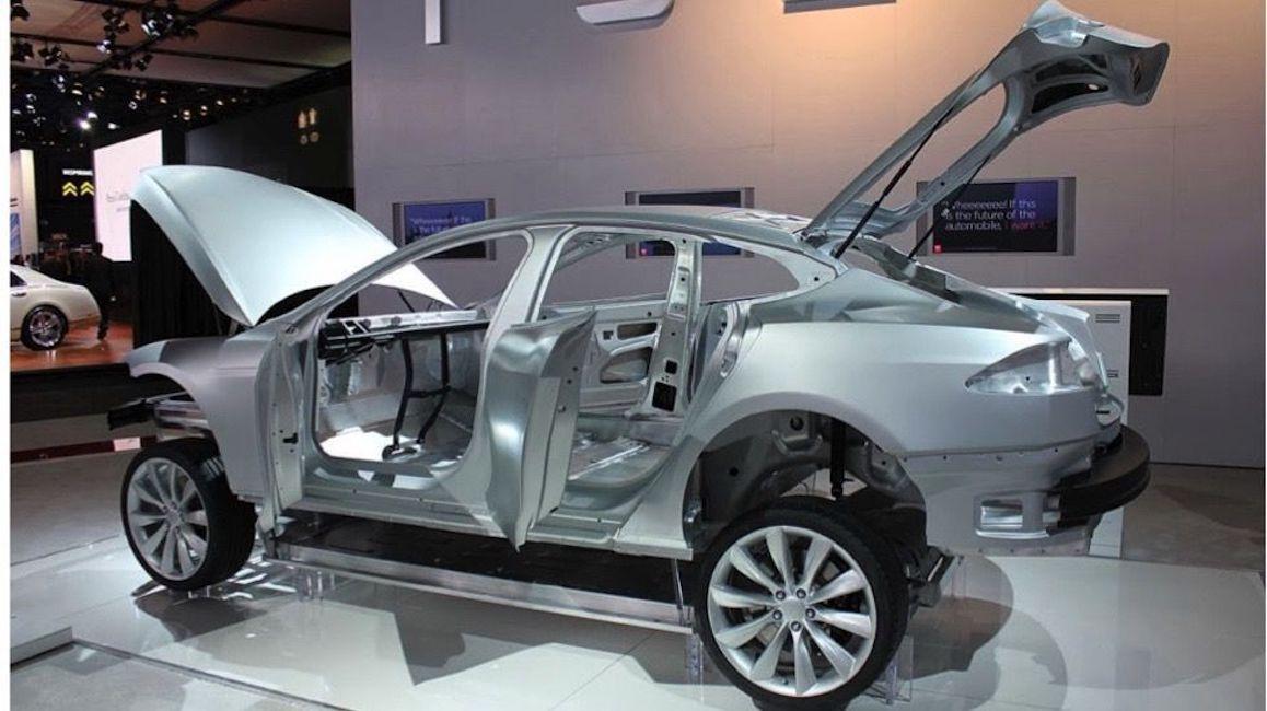 Aluminum body of a partially assembled car