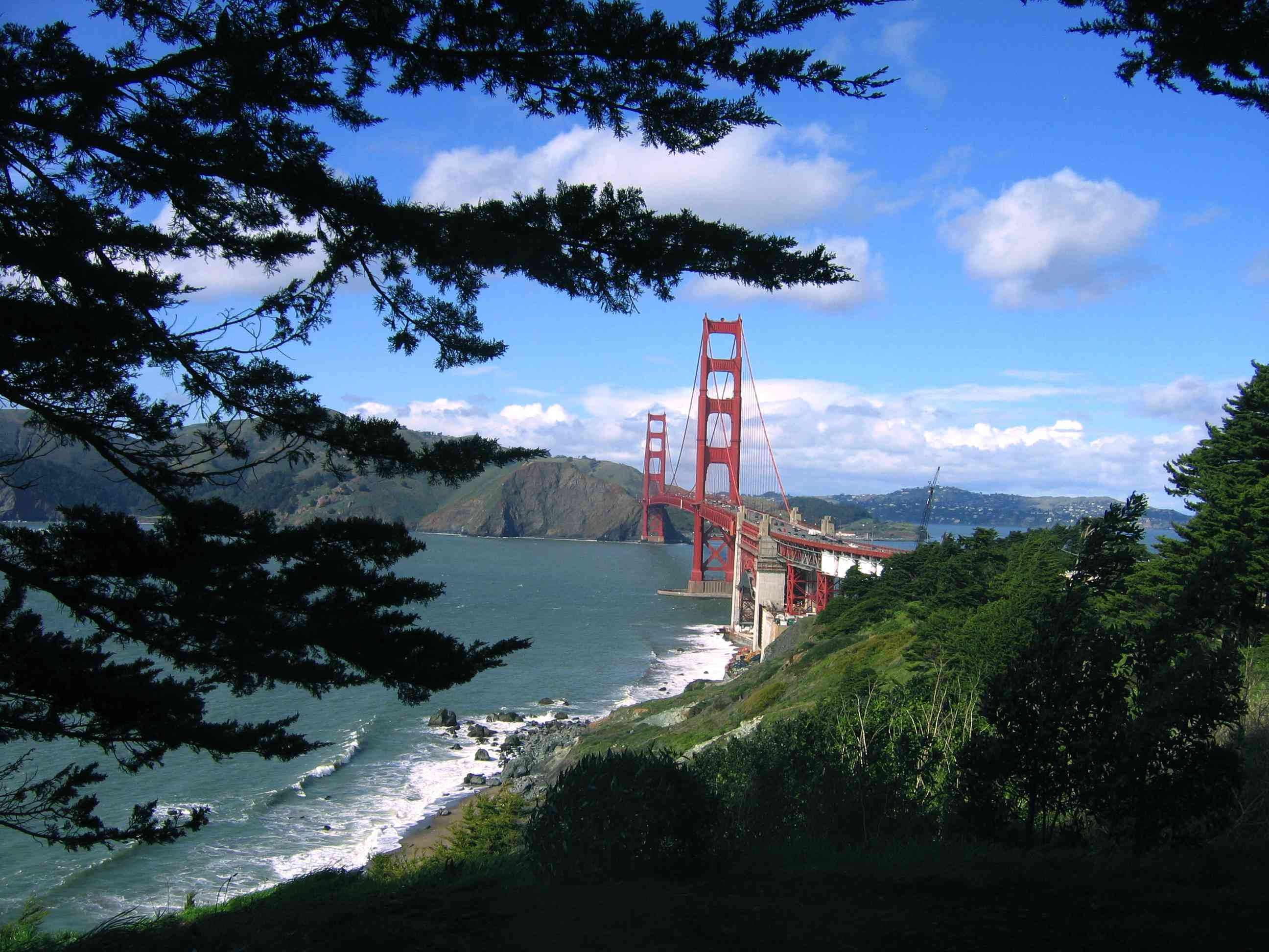 The Golden Gate Bridge is photographed from the Coastal Trail, part of the Lands End park