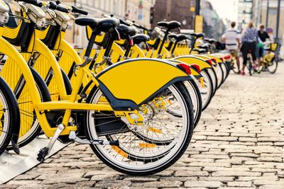 Line up of identical bikes at a bikeshare