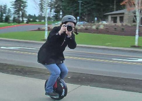photo solowheel riding camera