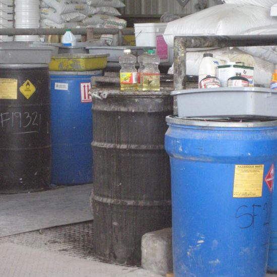Garbage bins in a waste facility.