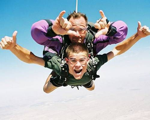 Tandem skydivers posing for camera