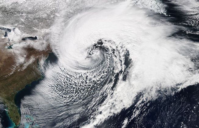 A massive and powerful nor'easter affecting the Northeastern United States on March 26, 2014, at peak intensity.