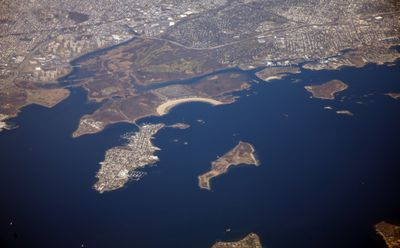 Aerial shot of islands including City Centre and smaller surrounding islands.