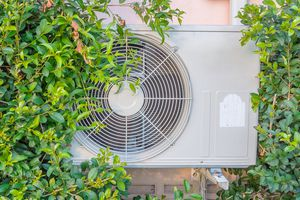 An air conditioner mounted on a wall surrounded by plants.