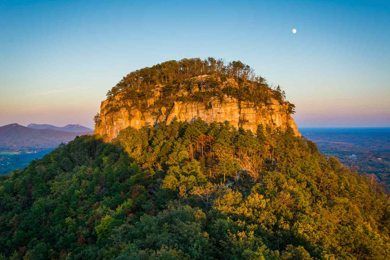 The Big Pinnacle of Pilot Mountain at sunset