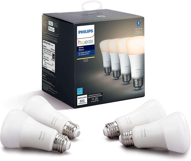 Philips Hue White 4-Pack A19 LED Smart Bulb
