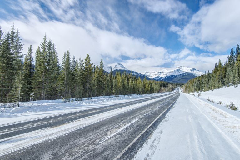 Winter road lined with evergreen trees and mountains in the distance