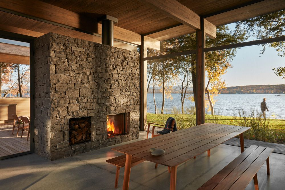 Wood and stone of fireplace