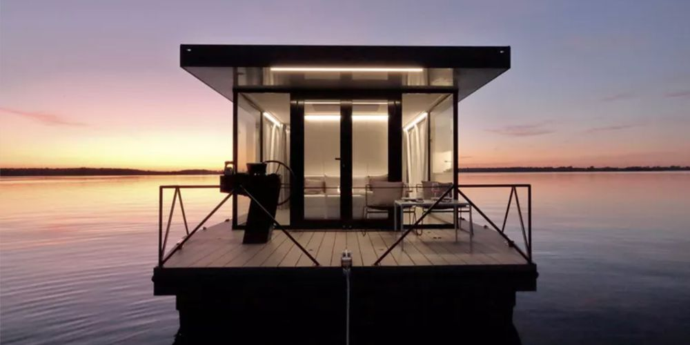 modern houseboat on the water
