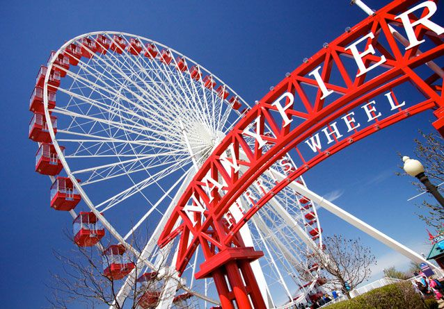 A ferris wheel at the navy pier