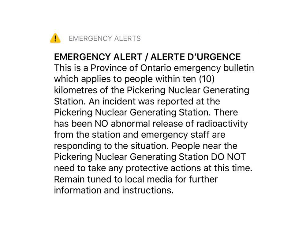 pickering alert seen in toronto