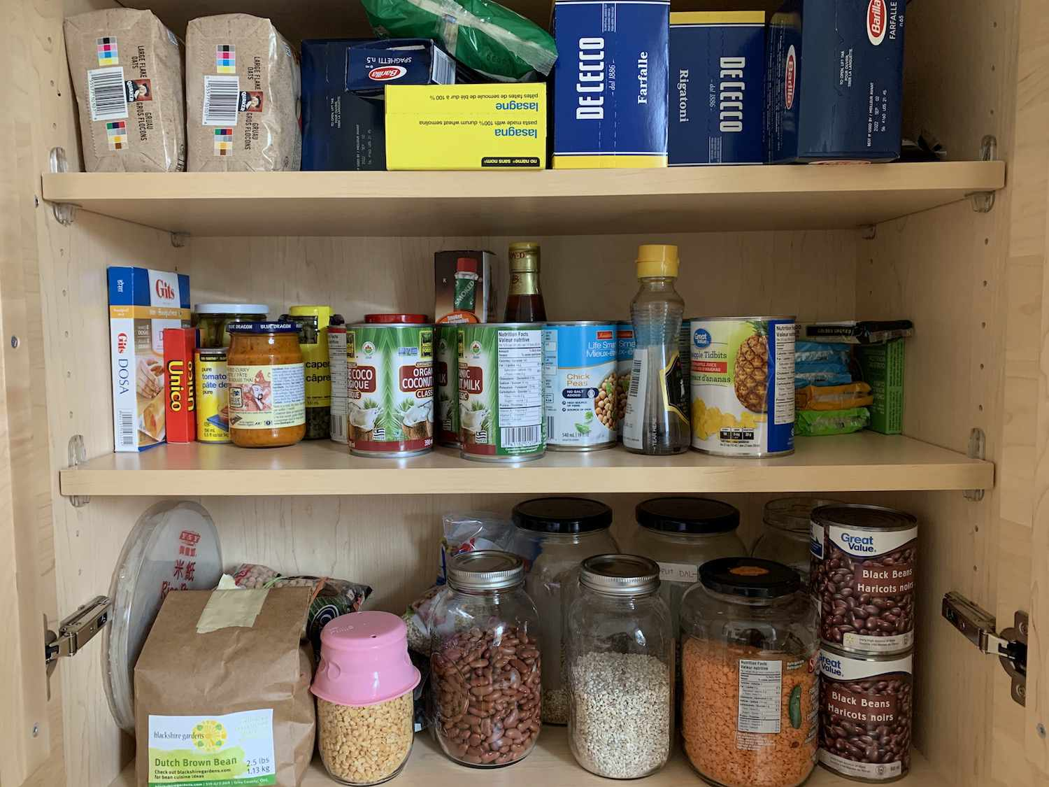 A few well-stocked pantry shelves