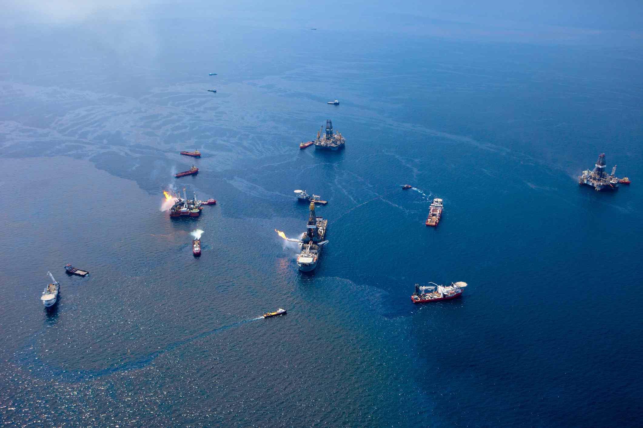 Overhead the Deepwater Horizon oil rig leak