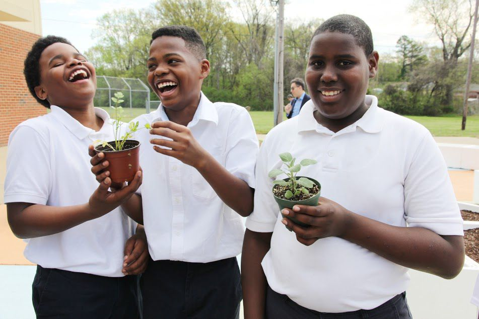 Three boys laugh while holding plants.