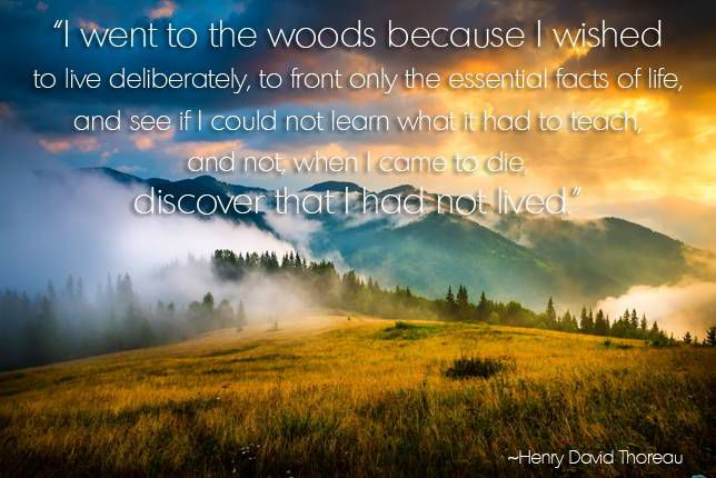 I went to the woods because I wished to live deliberately, to front only the essential facts of life, and see if I could not learn what it had to teach, and not, when I came to die, discover that I had not lived. Henry David Thoreau