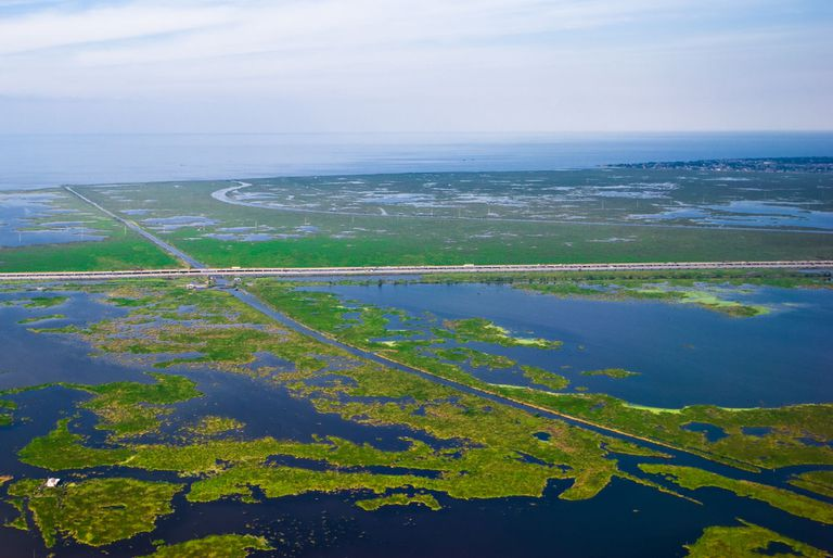 An aerial view of New Orleans disappearing wetlands.