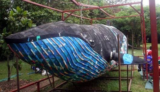 whale flip flop sculpture