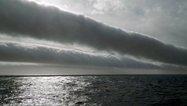 Roll clouds over the Southern Ocean