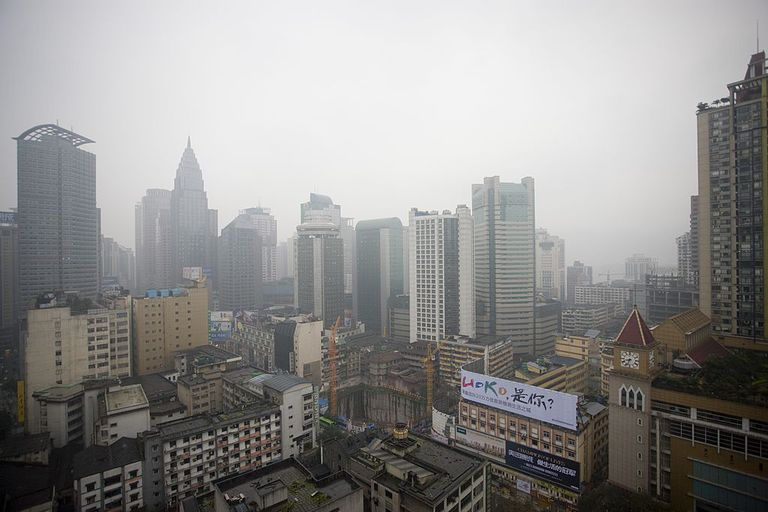 polluted skies in Shanghai