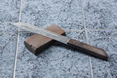 Knife on sharpening stone
