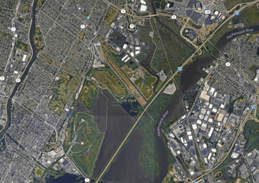 Map of wetlands, New Jersey Meadowlands