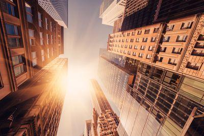 Skyscraper buildings in the sun.