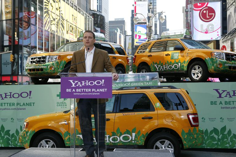 Yahoo Co-founder David Filo with Yahoo! Green Taxis.