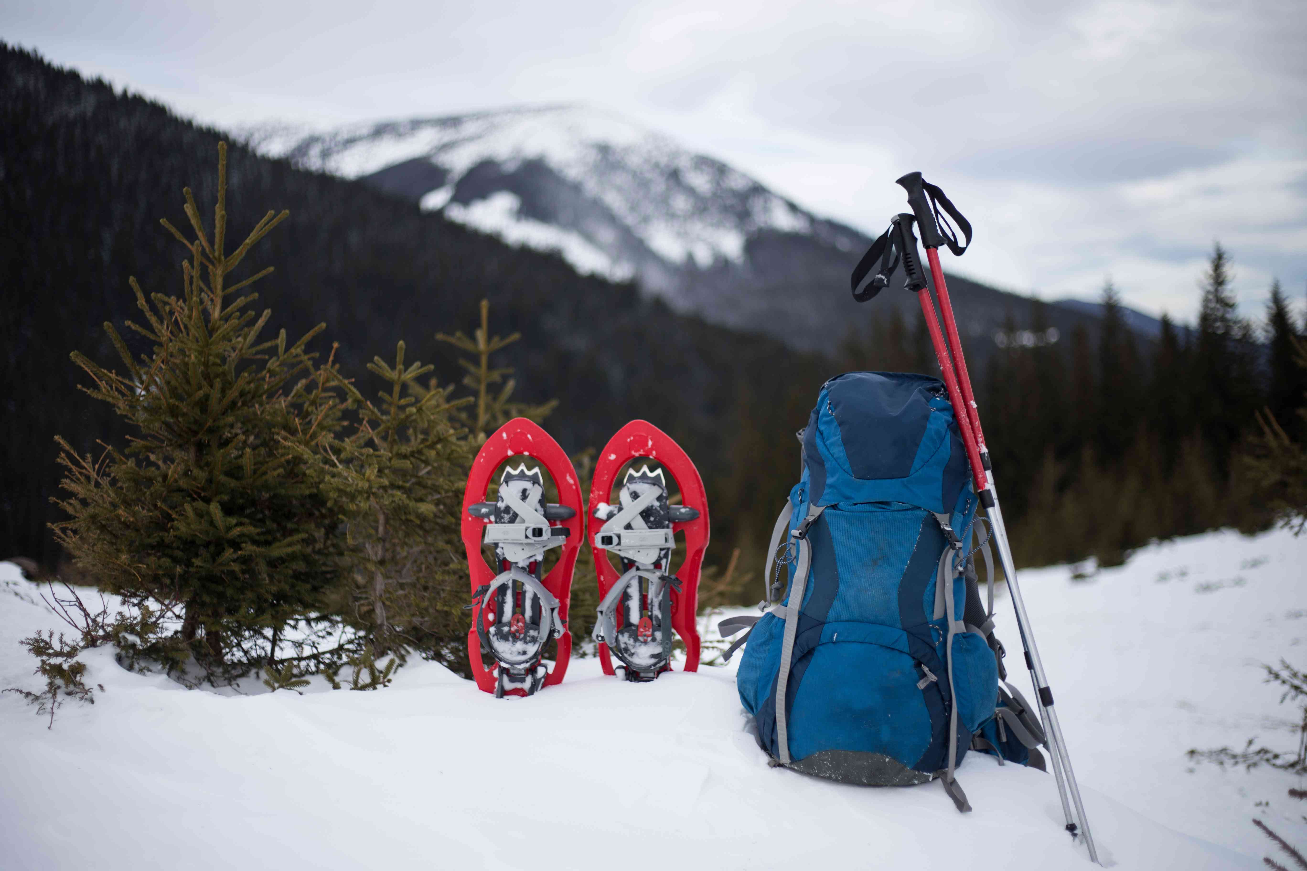 snow shoes, backpack and hiking poles