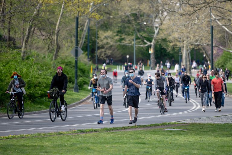 Biking and walking in Central Park, April 2020